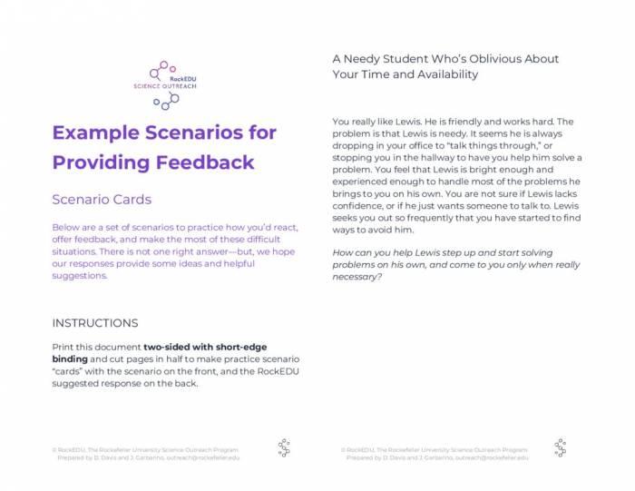 Example Scenario Practice Cards