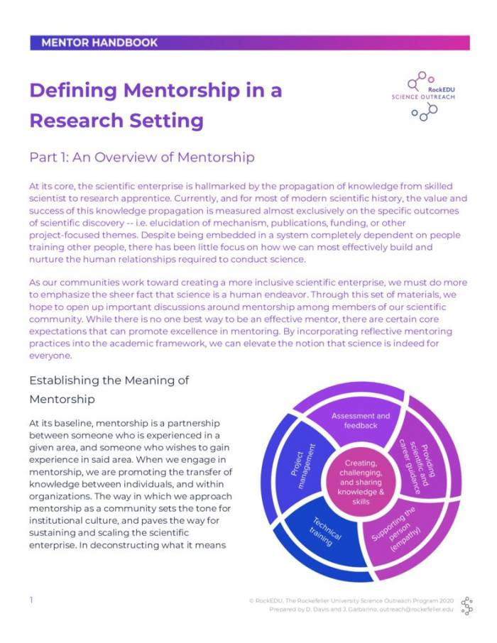 Part 1 Defining Mentorship in a Research Setting