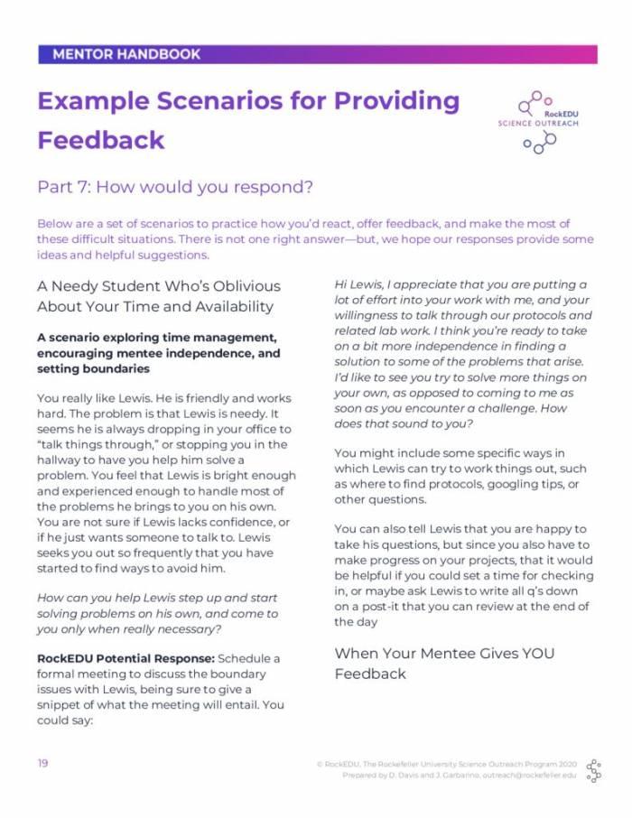 Part 7 Example Scenarios for Providing Feedback