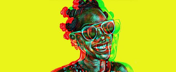 Illustration of a woman with bantu knots with a color effect against a bright yellow background