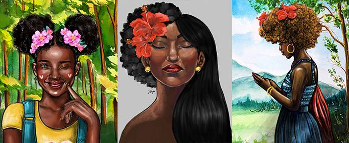 Three illustrations of black women with flowers in their hair